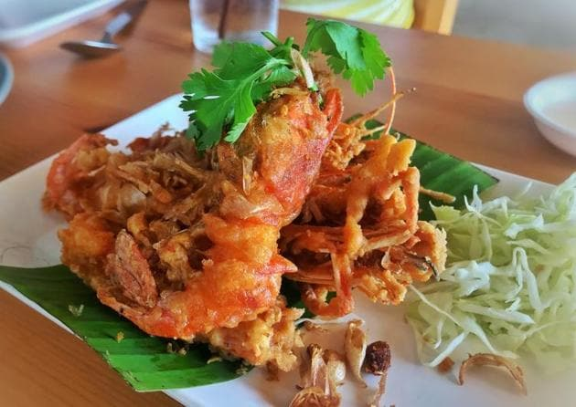 Deep-fried prawns. You'll find Thais grilling and frying food everywhere — small bits of meat or seafood tossed in a pan or roasted on bamboo sticks, full of smokiness and flavour.(Photo courtesy Kunal Vijayakar)