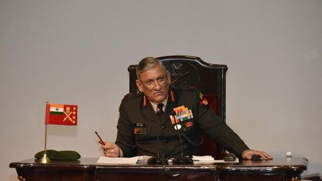 """Chief of Army General Bipin Rawat told reporters that the Chinese civilians who entered the Demchok area on July 6 to oppose the birthday celebration of Dalai Lama were """"accompanied"""" by Chinese soldiers.(Vipin KUmar/HT PHOTO)"""