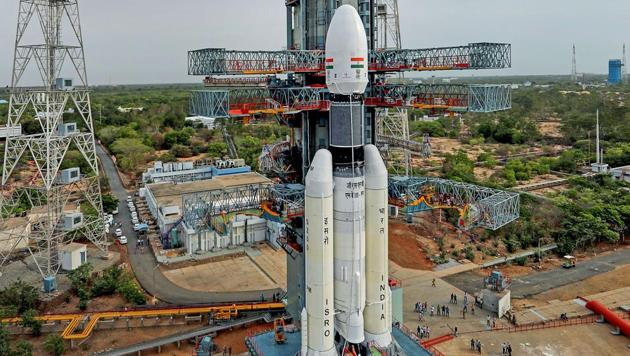 Chandrayaan 2 Launch Mission: The Geosynchronous Satellite Launch Vehicle Mark III (GSLV Mk 3) or 'Bahubali' is seen at the second launch pad ahead of the launch of Chandrayaan-2, in Sriharikota.(PTI)