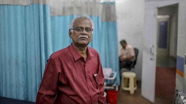 """T.N. Ravisankar, chairman of Sudar Hospitals, at one of Sudar's clinics in Chennai. Treating patients will """"depend on God's mercy"""" if water supplies in India's fourth-largest metropolis aren't replenished shortly, Ravisankar said. Piped water at his hospitals has already dried up, and even the more expensive water trucks he now relies on may be unavailable soon in the state of Tamil Nadu. (Dhiraj Singh / Bloomberg)"""