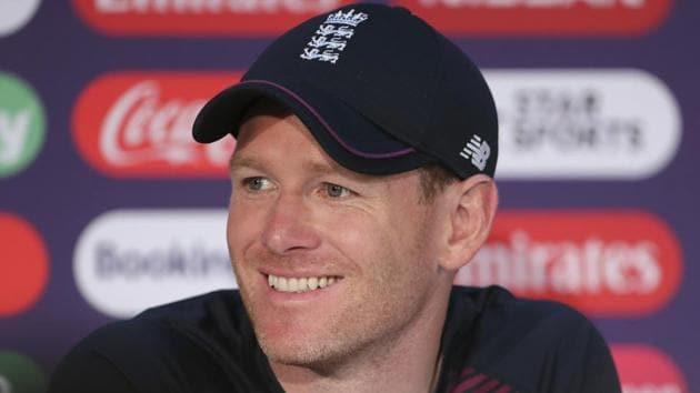 England's captain Eoin Morgan smiles during a press conference.(AP)