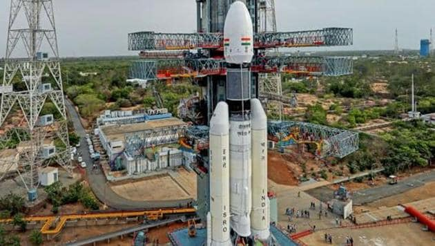 Sriharikota: In this picture released by ISRO Thursday, July 11, 2019, the Geosynchronous Satellite Launch Vehicle Mark III (GSLV Mk 3) or 'Bahubali' is seen at the second launch pad ahead of the launch of Chandrayaan-2, in Sriharikota.(PTI)