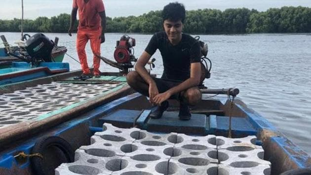 Siddharth Pillai, 17, has designed a system of interlocking blocks, assembling them along the Pondicherry coast. Experts estimate that it will start hosting marine life in a month.(HT Photo)