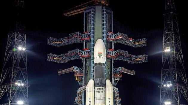 A view of the Chandrayaan-2 on board GSLVMkIII-M1 at Satish Dhawan Space Centre in Nellore district, Saturday, July 13, 2019.(PTI)