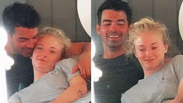 Sophie Turner and Joe Jonas cuddling in a boat during their honeymoon.