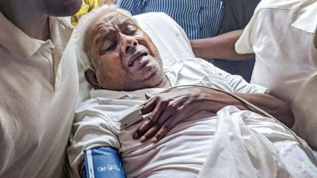 The founder of South Indian food chain Saravana Bhavan P Rajagopal at his surrender in a Chennai court to serve a life term for murder.(PTI)