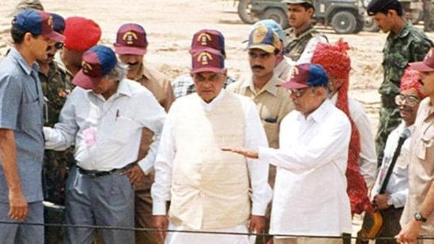 Former Prime Minister Atal Bihari Vajpayee at Pokhran after India's second nuclear test in May 1998.(HT FIL E PHOTO)