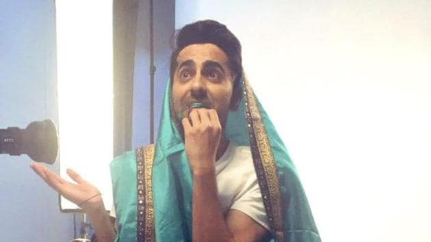 Ayushmann Khurrana has shared a picture of himself dressed in a saree.