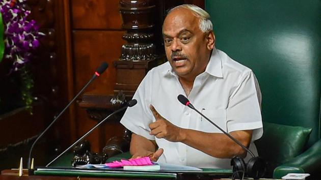 Karnataka Assembly Speaker KR Ramesh Kumar at Vidhana Soudha in Bengaluru on July 15.(PTI)
