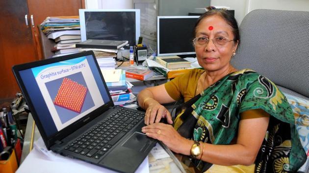 Keya Dharamvir at work in PU's physics department.(Keshav Singh/HT)