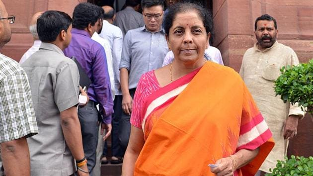 Finance Minister Nirmala Sitharaman after attending Parliament session in New Delhi on Thursday.(ANI PHOTO)