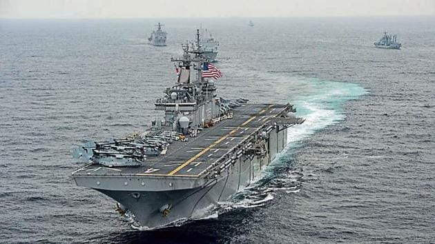 """The drone was reportedly """"jammed"""" by the US ship which was carrying Marine Corps personnel.(HT Photo)"""