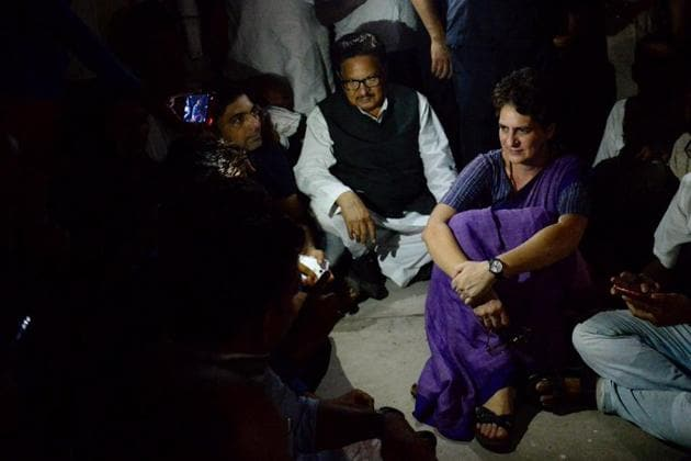 Congress General Secretary Priyanka Gandhi Vadra at Chunar Fort Guest House, after she was placed under detention when she was on her way to Sonbhadra, where 10 people were gunned down this week in Mirzapur on Friday.(Photo: PTI)
