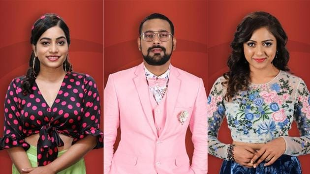 Bigg Boss 13 contestants Punarnavi Bhupalam, Varun Sandesh and Vithika Sheru.