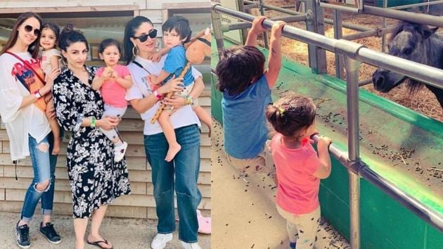 Prianka Singha, Soha Ali Khan and Kareena Kapoor with their kids at an animal farm in London.(Instagram)