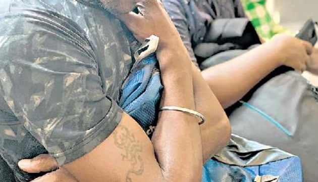 Ashok got the tattoo five years ago during a trip to the holy city of Haridwar.(HT Photo)