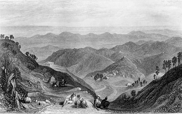 Mussoorie and the Doon valley, India, c1860, as seen from Landour.(Print Collector/Getty Images)