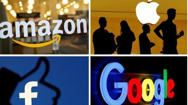 Google, Facebook, Amazon and Apple are now subject to an antitrust probe ordered by the US house Judiciary Committee. In this picture, the logos of Amazon, Apple, Facebook and Google combined together.(REUTERS)