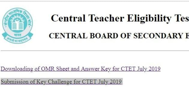 CTET Answer key 2019: The answer key of CTET July 2019 examination along with scanned images of OMR answer sheets of the candidates has been released by CBSE.(ctet.nic.in)