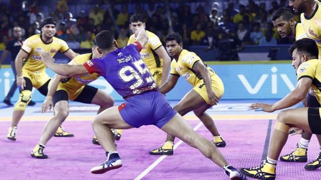Follow Highlights from the Pro Kabaddi League match between Telugu Titans and Dabang Delhi.(PKL)