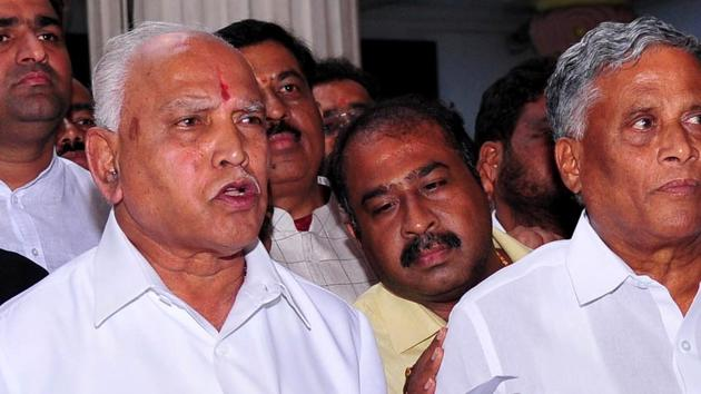 BJP leader B. S. Yeddyurappa speaks to the media after BJP won the trust vote at Karnataka assembly in Bengaluru on Tuesday.(ANI Photo)