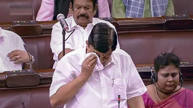 Outgoing AIADMK MP V Maitreyan breaks down during his speech in the Rajya Sabha during the Budget Session of Parliament in New Delhi on Wednesday.(PTI PHOTO.)