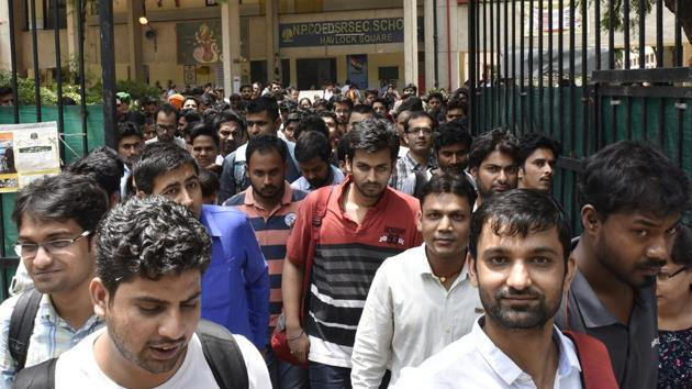 Candidates coming out after attending the Union Public Service Commission (UPSC) Civil Services preliminary exam 2017 at Havlock Square near Gole Dak khana in New Delhi(Arvind Yadav/HT PHOTO)
