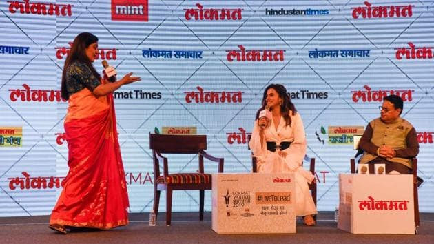 (From L) Moderator Leena Saldanha, director, Red Tree Design studio and poet; actor Taapsee Pannu and Vijay Darda, chairman, Lokmat Group, at JW Marriott on Tuesday.(Sanket Wankhade/ht)