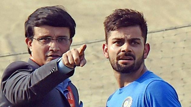 File image of former India skipper Sourav Ganguly (L) and current captain Virat Kohli.(PTI)