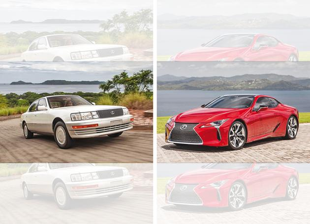 The first LS 400 (left) and the latest LC 500 look a millennium apart