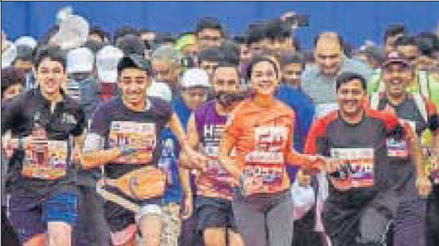 Singh added that the need was felt to come up with a special run for women in the 10km category because it is a target which is not too difficult to achieve, so even first-timers can give it a try.(HT Photo)