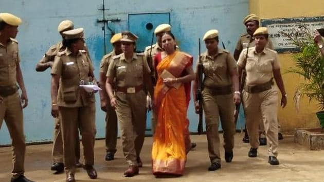 Nalini Sriharan bein released fron Vellore prison on Thursday on a month's parole.(HT photo)