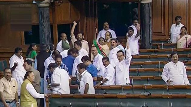 Opposition Congress members walk out of the Lok Sabha during the Budget Session of Parliament, in New Delhi, Wednesday, July 24, 2019.(Photo: PTI)