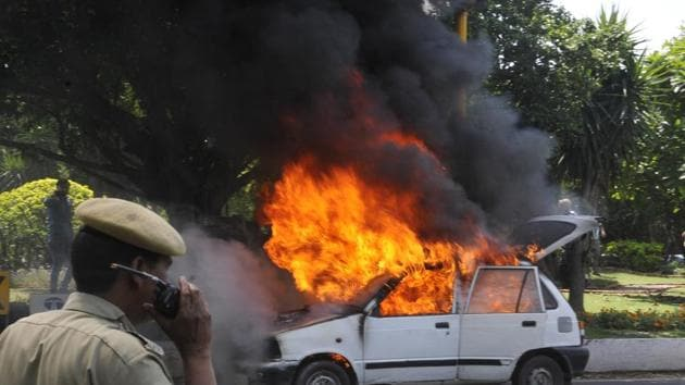 A Toyota Corolla parked in the garage of bungalow no. 5, owned by Moninder Singh Pandher, one of the two convicts in the Nithari killings, in Sector 31 near Nithari village, was damaged in a fire Thursday noon.(HT Photo/ Representational Image)