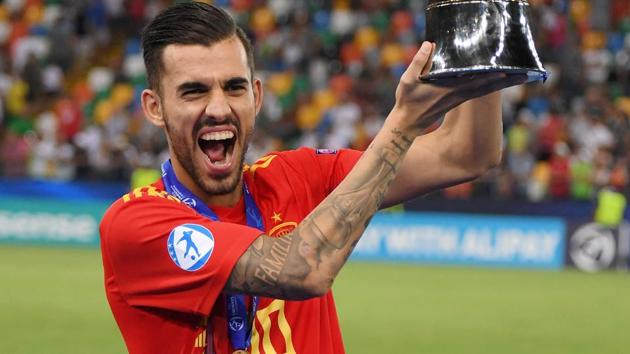 Spain's Dani Ceballos poses with the trophy as he celebrates winning the UEFA European Under-21 Championship.(REUTERS)
