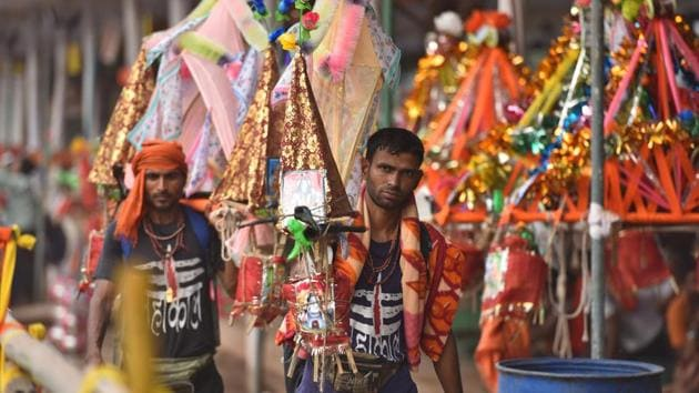 The Ghaziabad district administration announced that all schools, schools and educational institutions will be closed from July 26 to July 30 in the wake of Kanwar Yatra.(Sanchit Khanna/HT PHOTO)