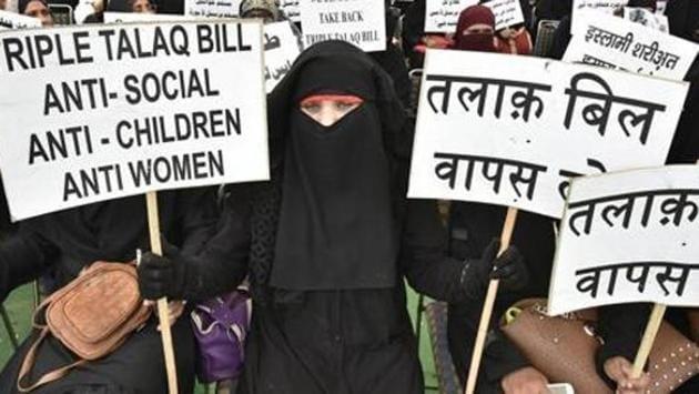 Muslim women protest against Triple Talaq Bill at Ramlila Ground in New Delhi, India, on Wednesday, April 4, 2018.(Raj K Raj/HT FILE PHOTO)