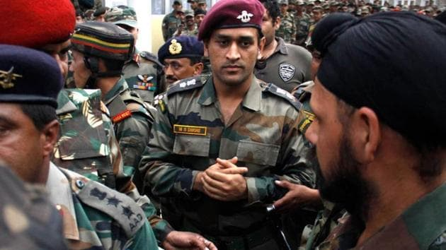 MS Dhoni with the Indian Army.(Twitter)