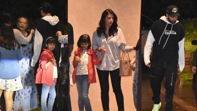 Brinda Rai, Aishwarya Rai, Aaradhya and Abhishek Bachchan during their dinner outing.(Varinder Chawla)