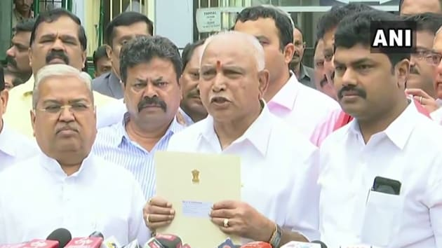 BJP leader BS Yeddyurappa speaking to mediapersons after staking claim to form government in Karnataka.(ANI photo)