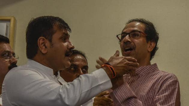 Shiv Sena president Uddhav Thackeray with Mumbai NCP chief Sachin Ahir .(Kunal Patil/HT Photo)