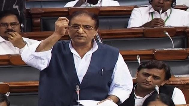 """Several union ministers and woman MPs had earlier in the day raised Azam Khan's remarks in the Lok Sabha and demanded action against the Samajwadi Party leader, who many described as a """"serial offender"""". (ANI Photo)"""