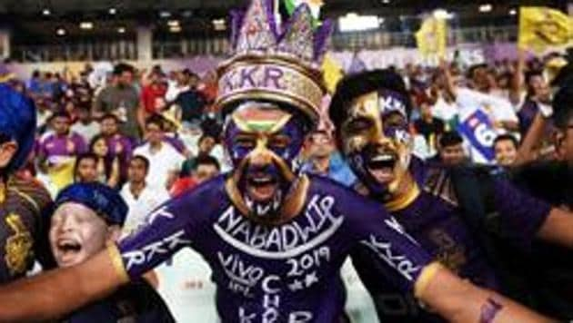 Kolkata Knight Riders's fans cheer for the team during the 2019 Indian Premier League (IPL) Twenty 20 cricket match between Kolkata Knight Riders and Rajasthan Royals at the Eden Gardens Cricket Stadium in Kolkata on April 25, 2019.(AFP file photo)