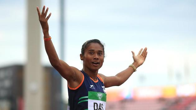 In many cases, Indian women athletes must grapple with poverty. Hima Das, who brought home four gold medals in 15 days, is the daughter of a farmer(Getty Images for IAAF)
