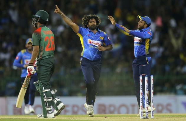 Lasith Malinga celebrates the wicket of Bangladeshi batsman Tamim Iqbal.(AP)