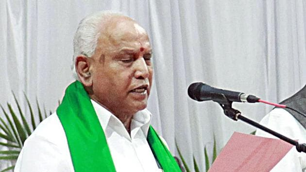 BS Yediyurappa taking oath as the Chief Minister of the state of Karnataka for the fourth time in Bengaluru on Friday.(Photo: ANI)