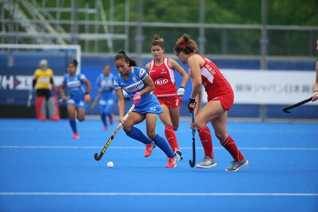 Young Forward Lalremsiami in action during India's Semi-Final match against Chile(Hockey India)