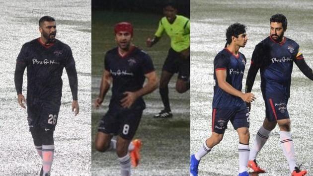 Arjun Kapoor, Ranbir Kapoor, Ishaan Khatter and Abhishek Bachchan during a football match on Kargil Vijay Diwas.(Varinder Chawla)