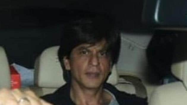 Actor Shah Rukh Khan arrives for Karan Johar's party.