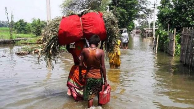 Heavy rainfall in Nepal this month, followed by heavy rainfall in several catchment areas of rivers in Bihar — including the Kamla which flows through Madhubani district — resulted in heavy flooding that has affected 12 of the state's 30 districts, and led to 123 deaths.(PTI Photo)